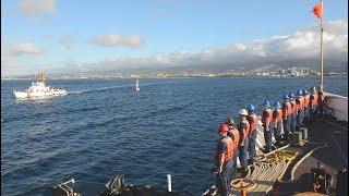 Coast Guard Cutter WHEC 720 SHERMAN final return before decommissioning 1/23/2018