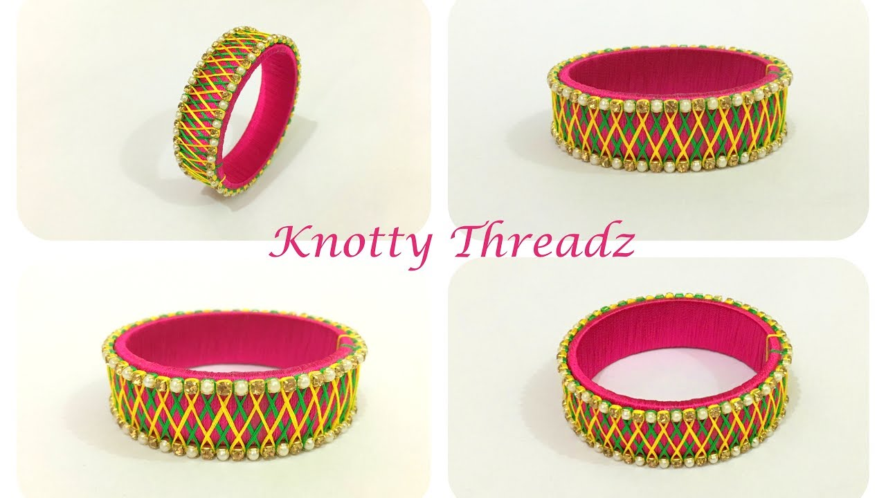 Silk Thread Jewelry | Designer Criss Cross Design Kada Bangle ...