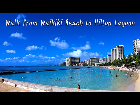 Hawaii Tour | Walk From Waikiki Beach To Hilton Hawaiian Village Duke Kahanamoku Lagoon | Oahu, USA