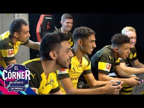 DJMARIIO RETA A LOS JUGADORES DEL DORTMUND EN UN DIVERTIDO CHALLENGE   EL CÓRNER   FIFA19