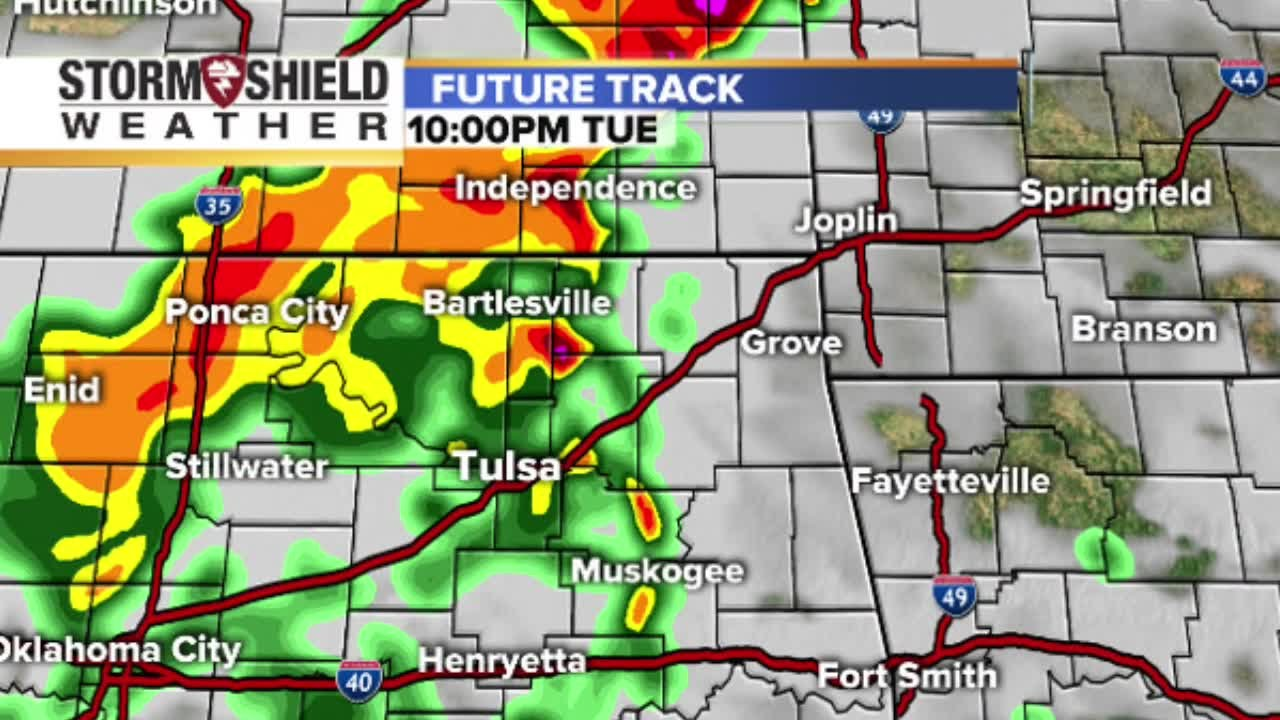 Radar future track shows timeline of severe weather, storms in Oklahoma  April 26