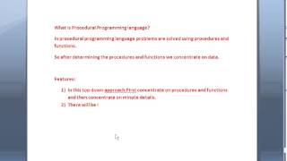 Java interview questions and answers part 2:What is procedural programming language