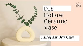DIY Hollow Ceramic Vase using Air Dry Clay and Baking Soda Painting Technique|  DIY Textured Vase