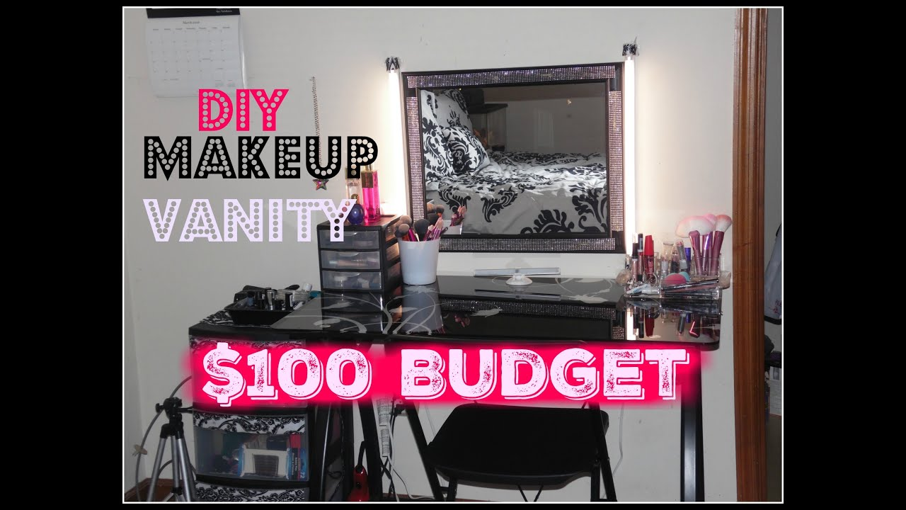 Diy makeup vanity on a 100 budget makeup station for cheap youtube solutioingenieria