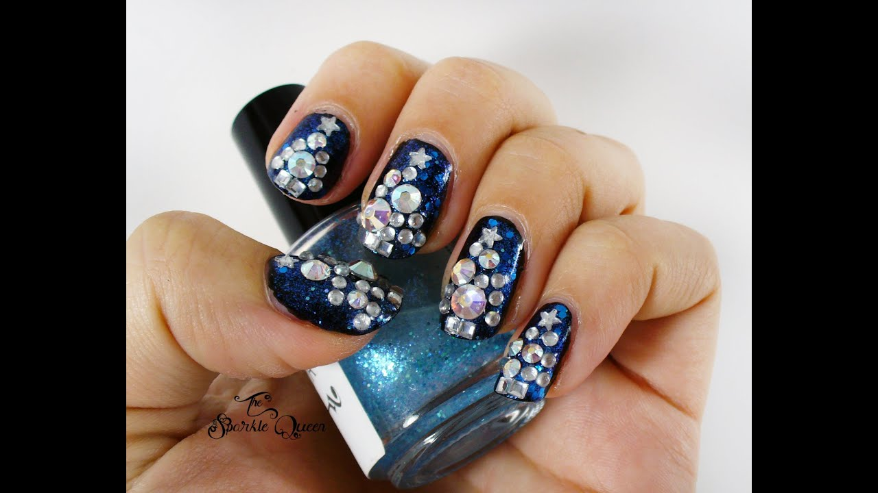 Rhinestone Bling Christmas Tree Nail Art Tutorial {that matches my ...