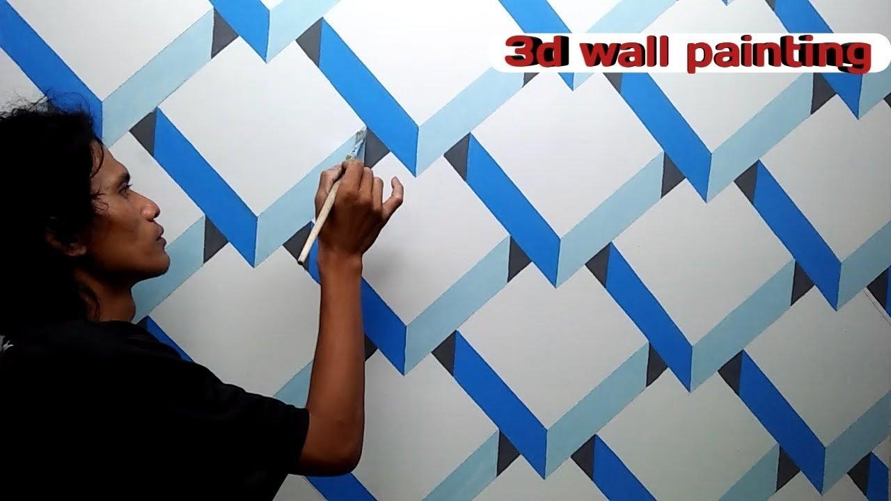Mural dinding  motif  3d  3d  wall painting tutorial