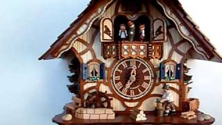 Anton Schneider Tudor Style Chalet Cuckoo Clock With Animated Wood-chopper, Water-wheel And Dancers.