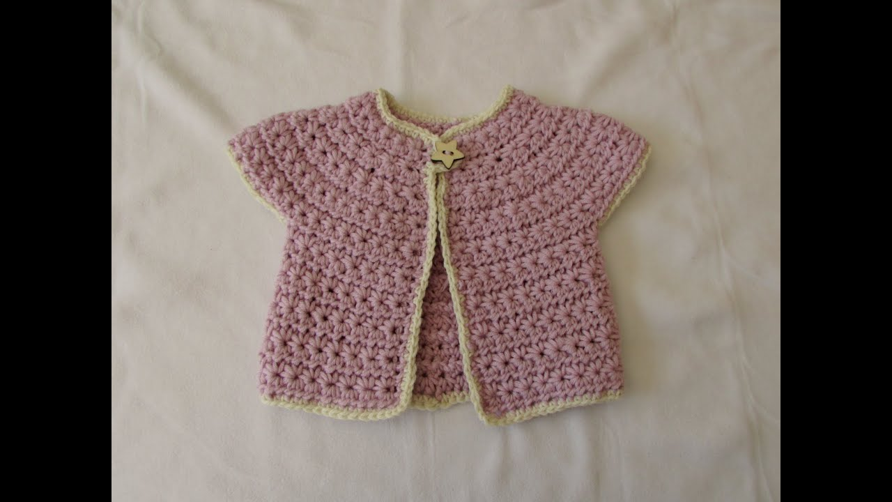021bf9bf0 How to crochet a chunky star stitch baby cardigan   sweater   jumper ...