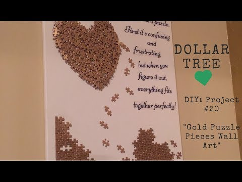 Dollar Tree DIY - 💕Gold Puzzle Pieces Wall Art💕