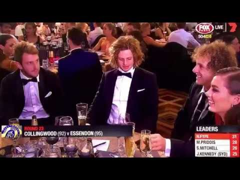 Nat Fyfe wins the AFL Brownlow Medal 2015