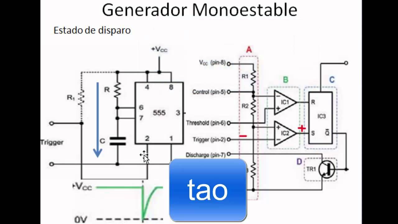 Circuito Monoestable 555 : Timer explicación del funcionamiento doovi