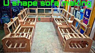 U shape sofa set making