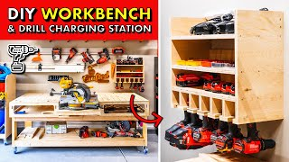 GARAGE SHOP STORAGE! 🛠 DIY 2x4 Workbench Base & Drill Charging Station