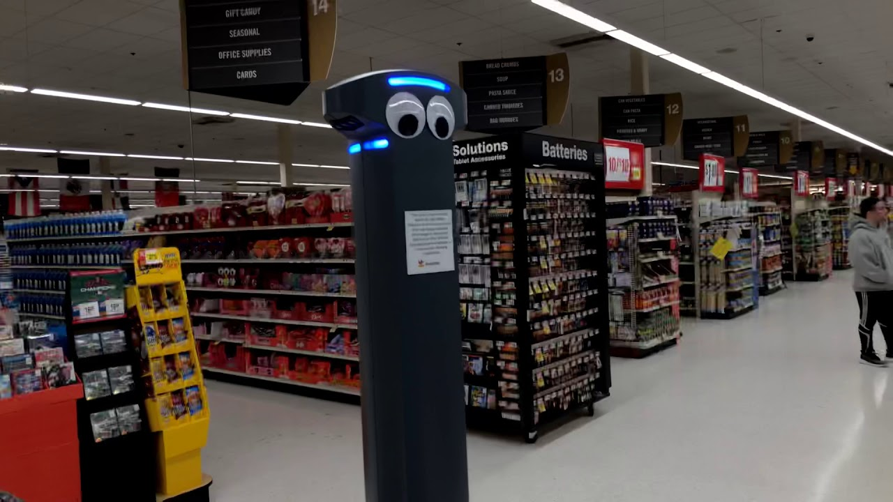 Marty the roving robot reports spills in the Fall River Stop & Shop.