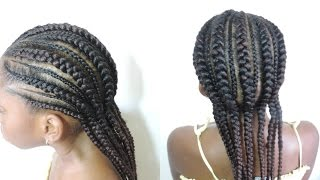 HOW TO|| FEED- IN CORNROW KIDS HAIRSTYLE