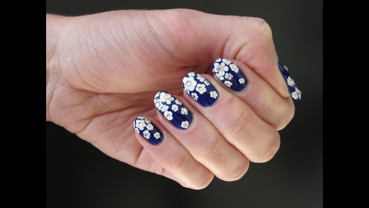 Russian Gzhel Nail Art Bluewhite Flowers Manicure Youtube