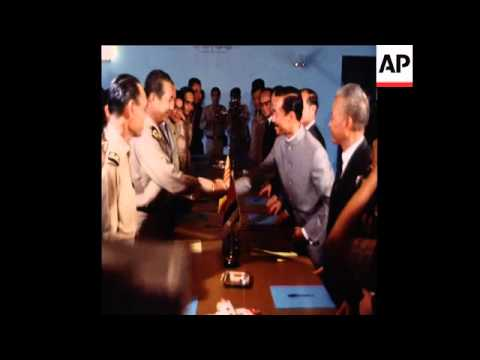 SYND 07/06/1970 KY AND LON NOL SIGNING A PACT