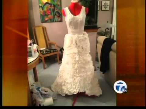 Woman wins prize for toilet paper wedding dress
