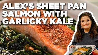 Alex Guarnaschelli's Sheet Pan Blackened Salmon with Garlicky Kale   The Kitchen   Food Network