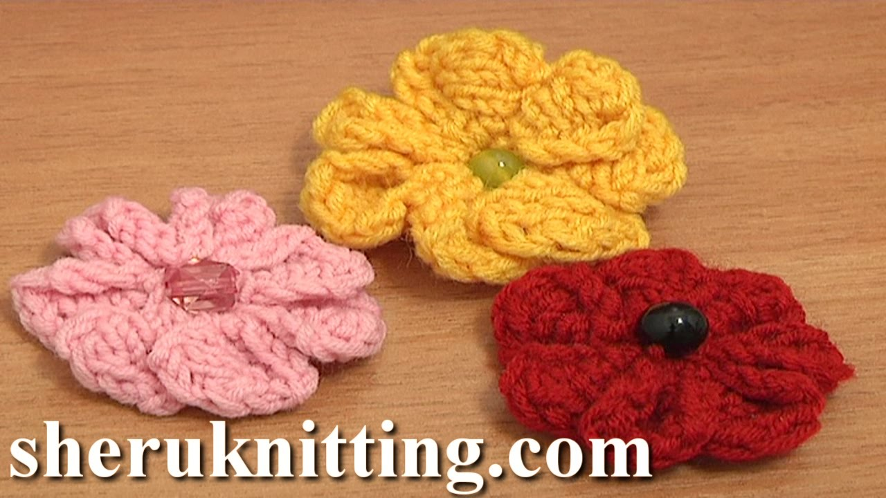 Knitting 7-Petal Flower Tutorial 3 Easy Knitting Patterns - YouTube