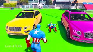 Kids leaningCOLOR BENTLEY SUV CARS Transportation and Superhero for children w Spiderman