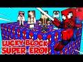 Lucky block giganti dei supereroi su minecraft