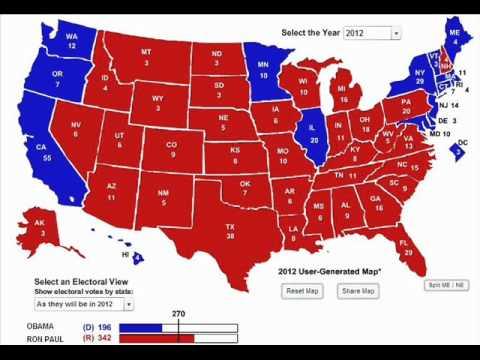 prediction barack obama vs ron paul 2012 electoral map youtube
