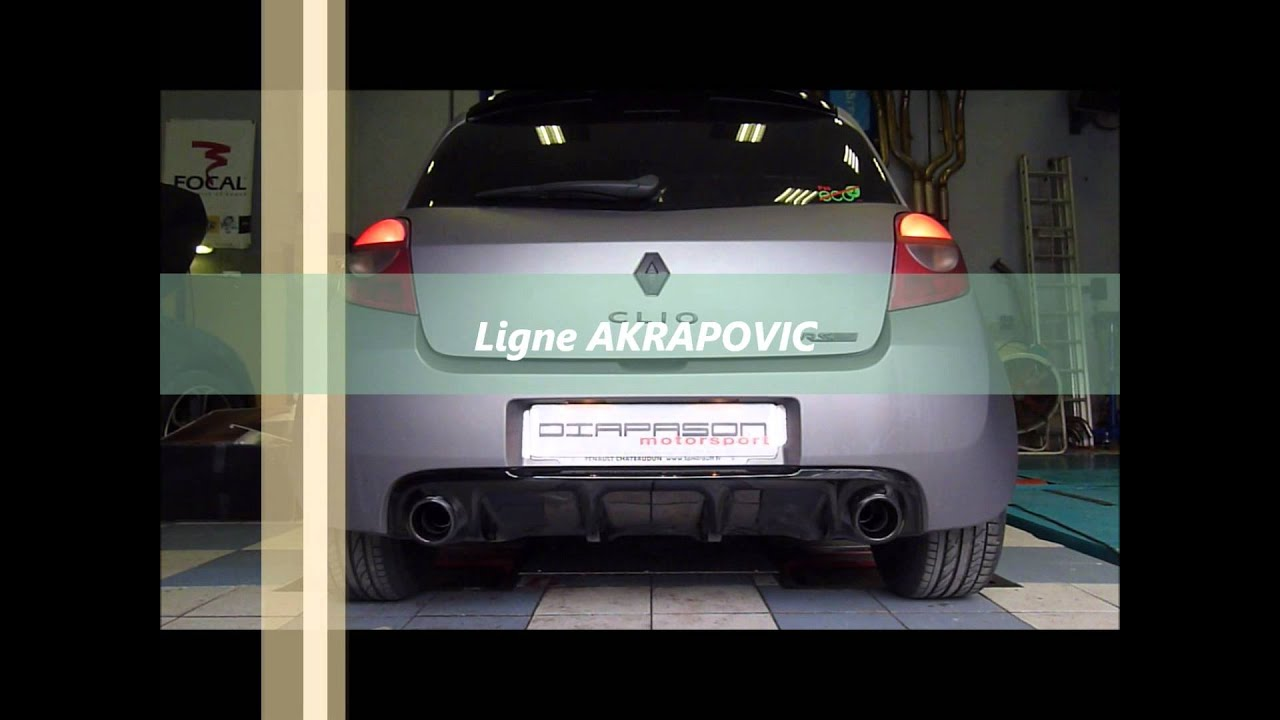 ligne evolution akrapovic exhaust renault clio rs youtube. Black Bedroom Furniture Sets. Home Design Ideas