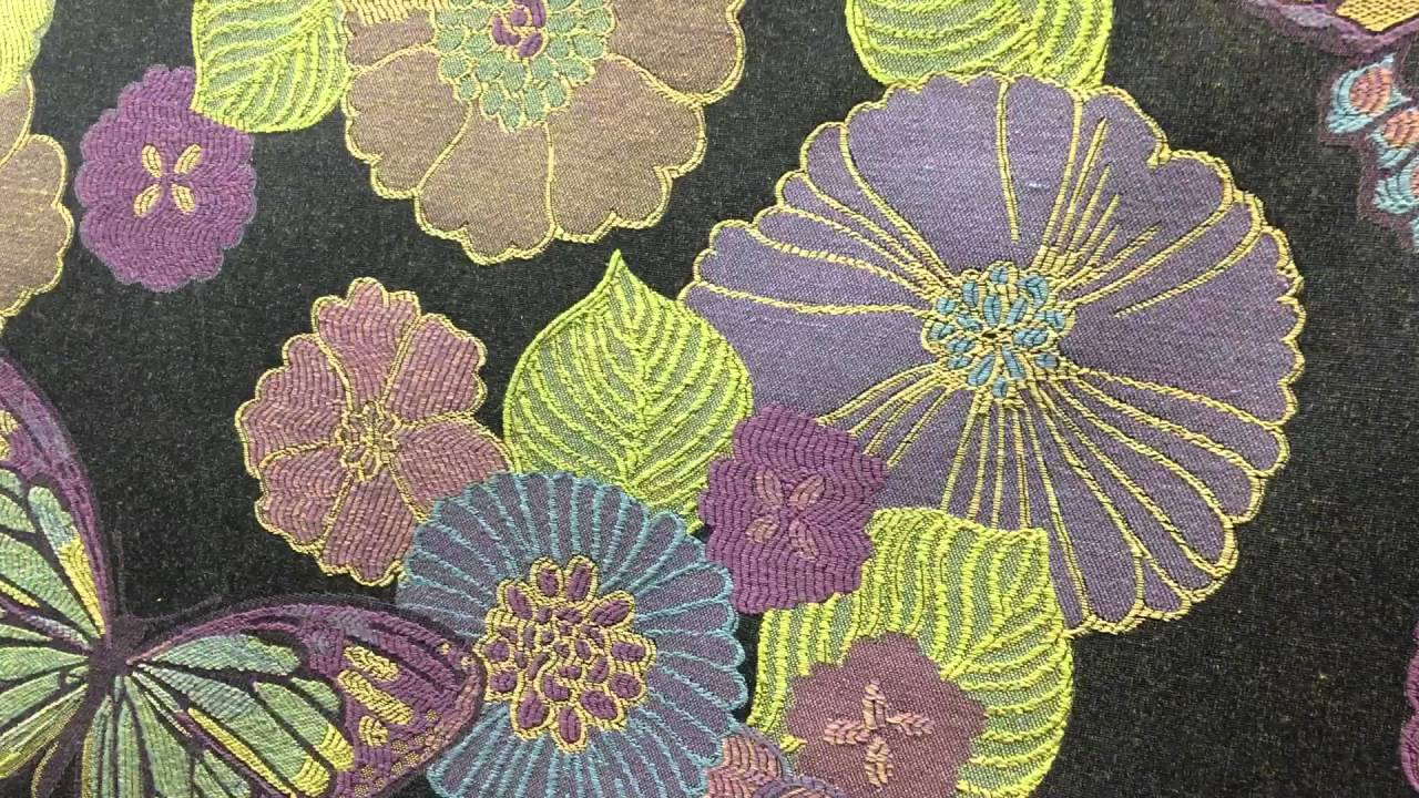 Lime Green And Purple Butterfly Tapestry 54 Inch Upholstery