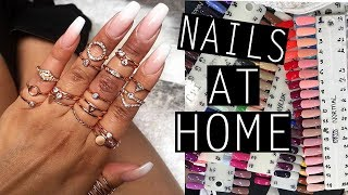 DOING MY OWN ACRYLIC NAILS AT HOME| NikkisSecretx