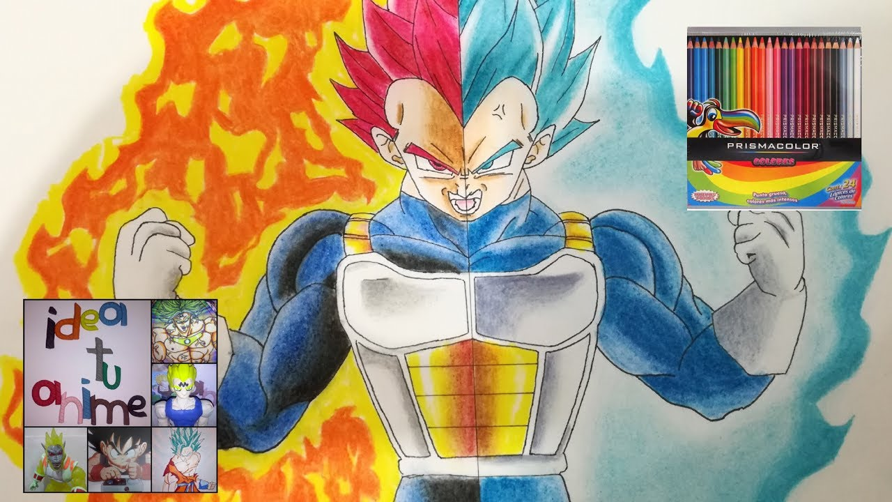 COMO DIBUJAR A VEGETA SSJ DIOS con colores de madera HOW TO DRAW