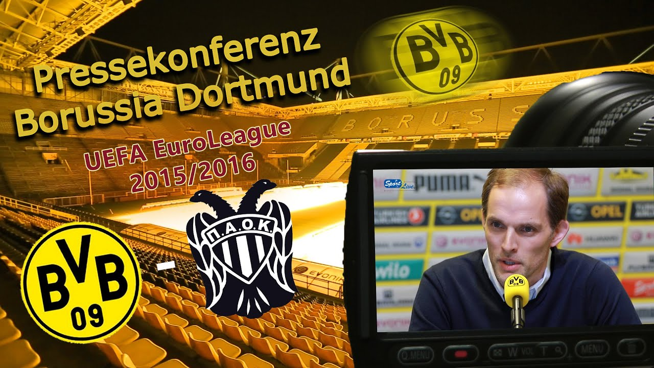 Borussia Dortmund - PAOK Thessaloniki: Pk mit Thomas Tuchel und Gonzalo Castro