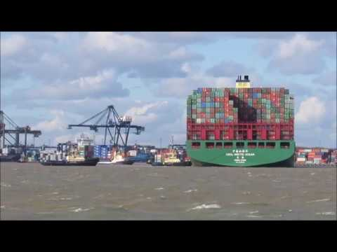 CSCL Arctic Ocean sails to Felixstowe in force 9 gale 2nd Ma