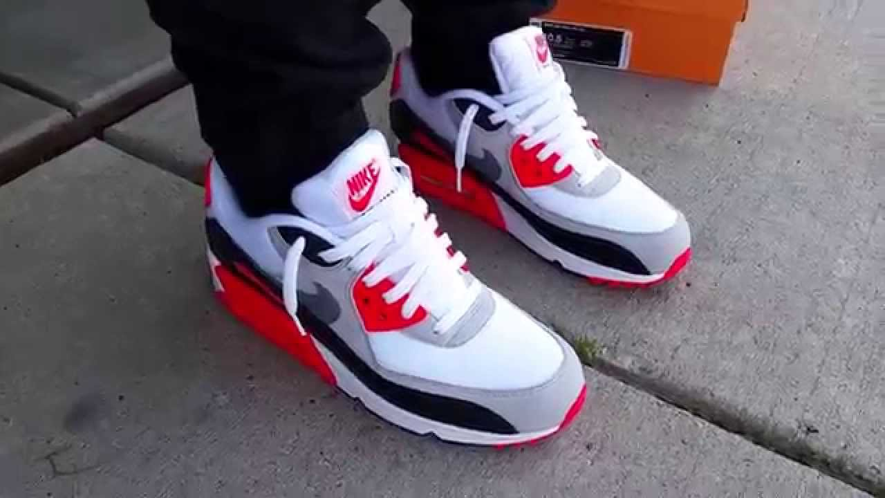 5c4f102ab59a8b NIKE AIR MAX 90 OG INFRARED WHITE COOL-NTRL GREY ON FEET REVIEW + JORDAN 6  COMPARISON HEAT! - YouTube