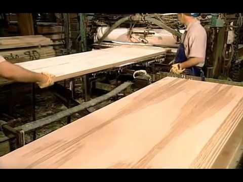 Как производят двери из шпона