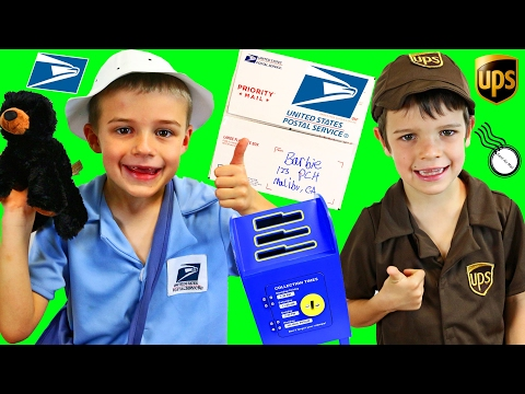 Mail Postal Worker vs UPS Delivery Boy Sorting Mail & Letters Dress Up Mailman Costumes