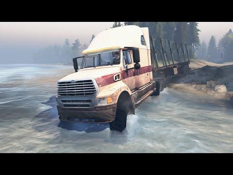 Spintires | Camión Sterling todo terreno con remolque de troncos! Inundación.