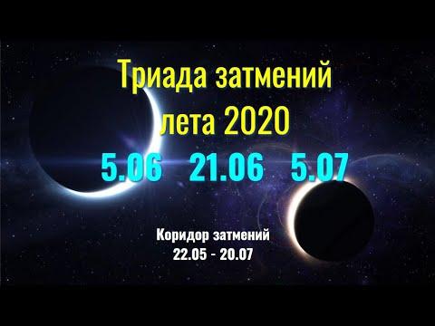 Триада затмений лета 2020 - Коридор затмений 22.05 - 20.07