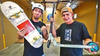 Teaching pro skateboarder how to backflip a scooter! (can he land it?) thumbnail