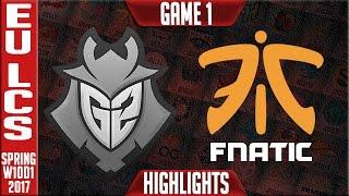 fnatic vs g2 game 1 highlights eu lcs w10d1 spring 2017 fnc vs g2 g1