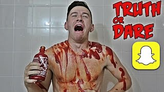 COVERED IN HOT SAUCE | SNAPCHAT TRUTH OR DARE!!