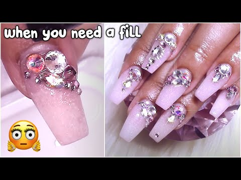 Working over another nail techs work!   Bejeweled Nails
