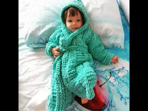 Вяжем из  ALIZE PUFFY FINE халат на ребенка один ,два года. 1 часть.