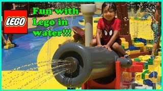 GIANT LEGO FUN IN WATER Park playground Legoland Discovery Center Pirate Beach Ryan ToysReview