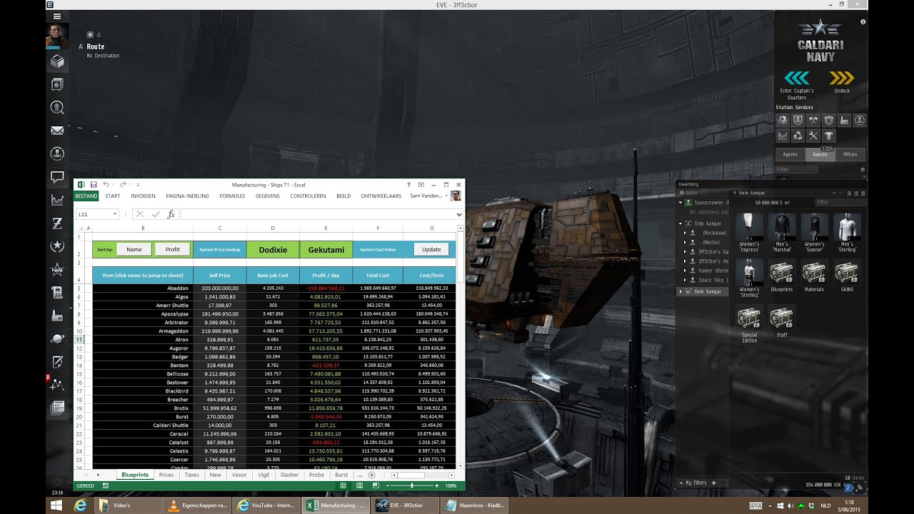 How to do manufacturing in eve online with excel youtube how to do manufacturing in eve online with excel malvernweather Images