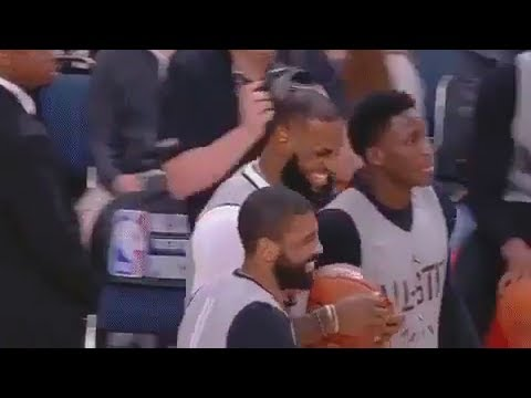 LeBron James & Kyrie Irving Laugh with each other at 2018 NBA All-Star Game Practice!