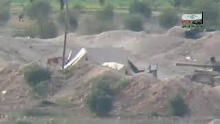 """חמאה: נ""""ט של המורדים פוגע במדוייק בטנק מסוג T-55 של נאמני אסד."""
