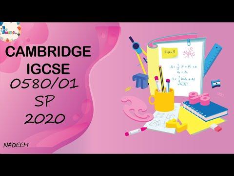0580/01/SP/20 Worked Solutions; Cambridge IGCSE Core Mathematics Specimen Paper 01 Examination 2020 thumbnail