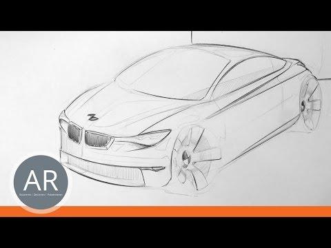 Autos zeichnen lernen. Eine einfache Art Autos zu skizzieren. Transportationdesign Studium