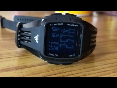 287e70cf56e adidas Unisex ADP6094 Digital Black Striped Watch with Polyurethane Band